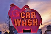 Car Wash Posters - Pink Elephant Car Wash Poster by Benjamin Yeager