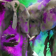 Tusk Mixed Media Prints - Pink Elephant Print by Donna Johnson