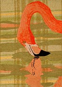 Reflection Tapestries - Textiles Prints - Pink Flamingo Print by Jean Baardsen
