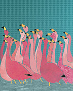 Selection Digital Art - Pink flamingos by Janet Carlson