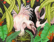 Flamingos Paintings - Pink Flamingos Jungle Tropical Bird Art by Cathy Peek