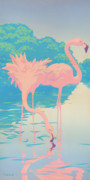 Large Paintings - Pink Flamingos retro pop art nouveau tropical bird 80s 1980s florida painting print by Walt Curlee