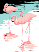 Abstract Wildlife Painting Prints - Pink Flamingos tropical 1980s pop art nouveau graphic art retro stylized florida scene print Print by Walt Curlee