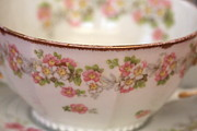 Green Leaves - Pink Floral Teacup by Lynn-Marie Gildersleeve
