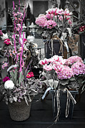 Flower Basket Photos - Pink flower arrangements by Elena Elisseeva