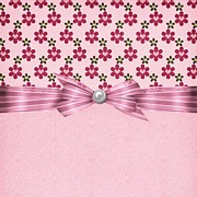 Pink Ribbon Prints - Pink Flowered Hearts  Print by Debra  Miller