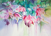 Hanging Painting Posters - Pink Flowers Watercolor Poster by Michelle Wiarda