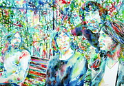 Watercolors Painting Posters - PINK FLOYD at THE PARK WATERCOLOR PORTRAIT Poster by Fabrizio Cassetta