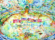 Arena Painting Prints - Pink Floyd Live At Pompeii Watercolor Painting Print by Fabrizio Cassetta