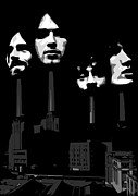 White Digital Art Posters - Pink Floyd No.02 Poster by Caio Caldas