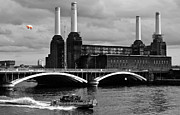 Black And White Framed Prints - Pink Floyds Pig at Battersea Framed Print by Dawn OConnor