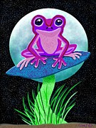 Nick Gustafson Prints - Pink Frog and Blue Moon Print by Nick Gustafson