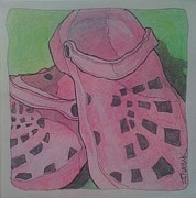 Gardening Drawings Originals - Pink Garden Clogs by Jennifer Nazak