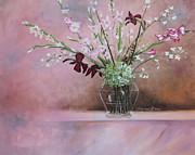 Pink Gladiolas Print by Cecilia  Brendel
