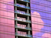 Glass Buildings Framed Prints - Pink Glass Clouds Framed Print by Randall Weidner