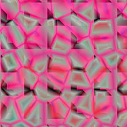 White Background Glass Art - Pink Glass Compositions by Laszlo Slezak