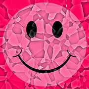 Shattered Framed Prints - Pink Glass Shattered Smiley Face Framed Print by David G Paul