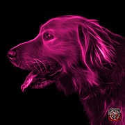 Retriever Digital Art - Pink Golden Retriever - 4047 F by James Ahn