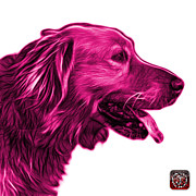 Retriever Digital Art - Pink Golden Retriever - 4047 FS by James Ahn