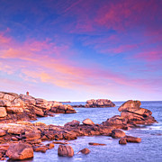 Pink Dawn Posters - Pink Granite Coast Brittany France Poster by Colin and Linda McKie