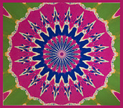 Symmetrical Design Prints - Pink Green Blue Abstract Print by Barbara Snyder