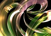 Colorful Art Digital Art - Pink-Green-Gold-Ribbon by Louis Ferreira