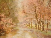 Autumn Scenes Pastels Prints - Pink Haze Print by Barbara Smeaton