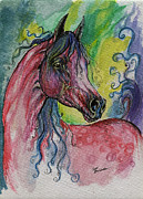 Lilac Drawings Posters - Pink Horse With Blue Mane Poster by Angel  Tarantella