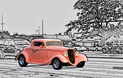 Big Block Chevy Framed Prints - Pink Hot Rod Cruising Woodward Avenue Dream Cruise Selective Coloring Black and White Framed Print by Thomas Woolworth