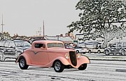 Big Block Chevy Framed Prints - Pink Hot Rod Cruising Woodward Avenue Dream Cruise Selective Coloring Framed Print by Thomas Woolworth