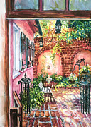 Alice Grimsley Metal Prints - Pink House Courtyard Metal Print by Alice Grimsley