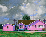 Antennae Painting Prints - Pink House Print by E Dan Barker
