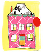 Red School House Mixed Media Prints - Pink House Print by Linda Woods