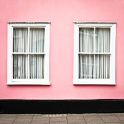White Frame House Framed Prints - Pink House Framed Print by Tom Gowanlock