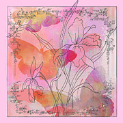 Textile Collage Posters - Pink Iris Butterflies Pop Art Poster by AdSpice Studios