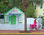 Sign In Florida Photo Prints - Pink Lady and The Conch Shop  Print by Rebecca Korpita