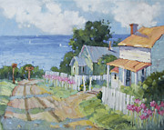Pink Lady Lilies By The Sea By Joyce Hicks Print by Joyce Hicks