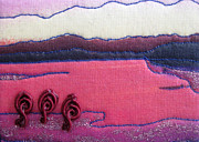 Acrylic Art Tapestries - Textiles Prints - Pink Lake Print by Jean Baardsen