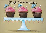 Folk Art Paintings - Pink Lemonade Cupcake by Catherine Holman