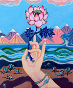 Lotus Paintings - Pink Lotus Mudra by Peta Garnaut
