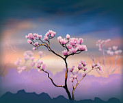 Scenery Mixed Media Metal Prints - Pink Magnolia - Bright Version Metal Print by Bedros Awak
