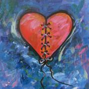Abstract Heart Paintings - Pink Mended Broken Heart by Carol Suzanne Niebuhr