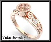 Romantic Rose Jewelry - Pink Morganite And Diamond 14k Rose Gold Engagement Ring by Roi Avidar