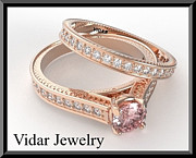 14k Jewelry - Pink Morganite And Diamond 14k Wedding Ring And Engagement Ring Set by Roi Avidar