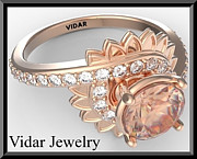 Romantic Rose Jewelry - Pink Morganite And Diamond Flower 14k Rose Gold Engagement Ring by Roi Avidar