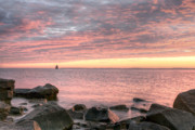 Sandy Point Park Prints - Pink Morning Print by JC Findley