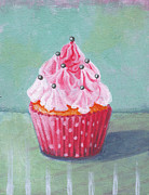 Black Diet Paintings - Pink Mountain Cupcake by Marco Sivieri