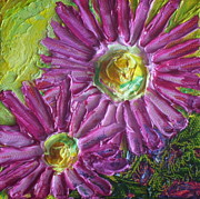 Paris Wyatt Llanso Metal Prints - Pink Mums II Metal Print by Paris Wyatt Llanso
