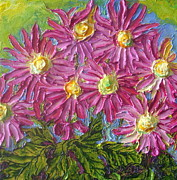 Paris Wyatt Llanso Metal Prints - Pink Mums Metal Print by Paris Wyatt Llanso