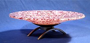 Fused Glass Art - Pink Murrini Bowl with Stand Image B by P Russell